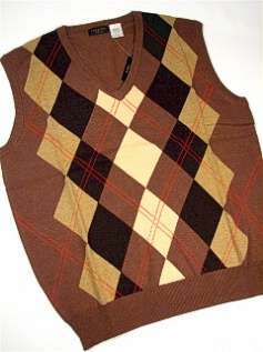 #148175. 3XL TALL. BROWN Retail $  70.00 Sweaters by CELLINI. ARGYLE VEST Whs A:  1
