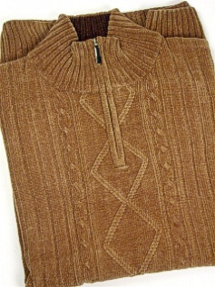 #050724. XL TALL. KHAKI Retail $  70.00 Sweaters by CELLINI. 1/4 ZIP CHENILLE Whs A:  1