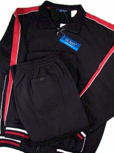 #324212. 4XL TALL. BLACK Retail $  90.00 Jog Set by LD SPORT. COT/PLY JOG SET VERT Whs:  7,