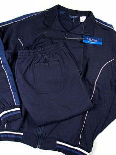 #316653. 4XL TALL. NAVY Retail $  90.00 Jog Set by LD SPORT. COT/PLY JOG SET VERT Whs:  8,
