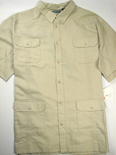 #145312. 2XL TALL. NATURAL Retail $  75.00 Short Sleeve by CUBAVERA. 4-POCKET LINEN Whs A:  1