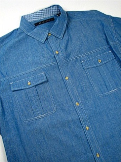 #072315. 3XL TALL. BLUE Retail $  68.00 Short Sleeve Updated by SEAN JOHN. 2-POCKET CHAMBREY Whs A:  2