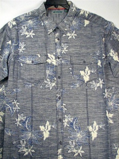 #208242. 2XL TALL. INDIGO Retail $  75.00 Short Sleeve Tropical by CUBAVERA. 2-POCKET FLORAL REVER Whs A:  5