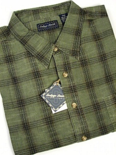 #162498. 4XL BIG. OLIVE Retail $  55.00 Long Sleeve by INDYGO SMITH. WINDOWPANE PLAID Whs A:  6