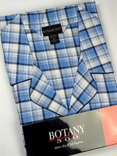 #325345. 3XL TALL. BLUE Retail $  34.00 Pajamas by BOTANY 500. LONG SLV PANT PLAID Whs A:  1