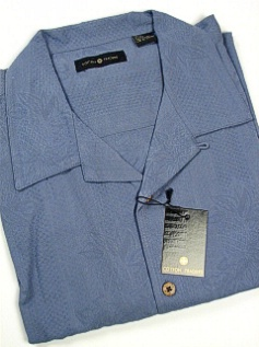#323543. 2XL BIG. BLUE Retail $  75.00 Short Sleeve Updated by CTTON TRADERS. SILK SOLID EMBROIDER Whs A:  1