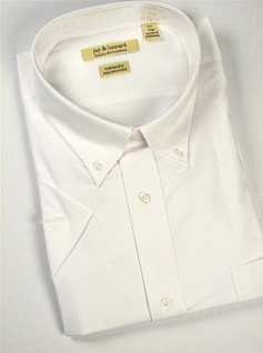 #205238. 19.0 BIG. WHITE Retail $  39.00 Short Sleeve Dress Shirts by JAY & LEONARD. B.D. OXFORD SOLID Whs A:  1