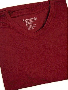 #018137. 2XL BIG. WINE Retail $  28.00 Short Slv No Pocket by COTTON WORKS. SPANDEX V-NECK TEE Whs A:  1