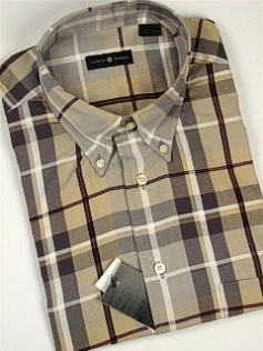 #053080. 2XL TALL. TAN Retail $  48.00 Short Sleeve by CTTON TRADERS. WRINKLE RESIST PLAID Whs A:  1