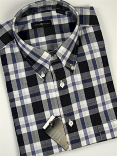 #279745. 4XL TALL. NAVY Retail $  48.00 Short Sleeve by CTTON TRADERS. WRINKLE RESIST PLAID Whs:  1,