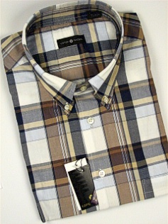 #083641. 4XL TALL. TAUPE Retail $  48.00 Short Sleeve by CTTON TRADERS. WRINKLE RESIST PLAID Whs A:  1