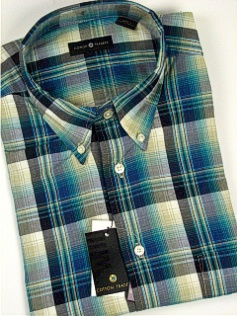 #325730. 2XL TALL. TEAL Retail $  48.00 Short Sleeve by CTTON TRADERS. WRINKLE RESIST PLAID Whs A:  1