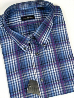 #308025. 4XL BIG. OCEAN Retail $  48.00 Short Sleeve by CTTON TRADERS. WRINKLE RESIST PLAID Whs A:  3