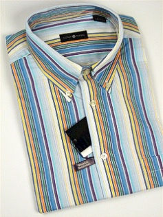 #118710. 4XL TALL. BLUE Retail $  48.00 Short Sleeve by CTTON TRADERS. WRINKLE RESIST STRIPE Whs A:  3 FW:  1