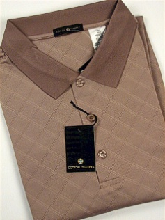 #296618. 4XL BIG. MOCHA Retail $  59.00 Short Sleeve Stay Dry by CTTON TRADERS. WICKING KNIT DIAMOND Whs A:  1