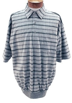 #178004. 4XL BIG. BLUE Retail $  46.00 Short Sleeve by LD SPORT. TC KNIT WINDOWPANE Whs:  3,FW:  1,