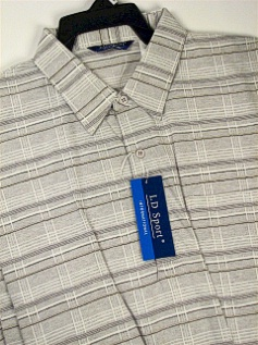 #226327. XL TALL. GREY Retail $  46.00 Short Sleeve by LD SPORT. TC KNIT WINDOWPANE Whs A:  1