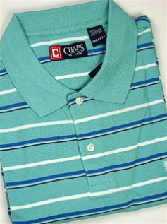 #311658. 3XL BIG. AQUA Retail $  54.00 Short Sleeve by CHAPS. PIQUE HORIZ STRIPE FW:  1