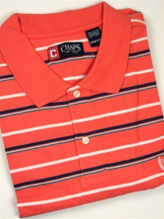 #045148. XL TALL. ROSE Retail $  54.00 Short Sleeve by CHAPS. PIQUE HORIZ STRIPE Whs:  1,