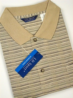 #049315. 4XL BIG. TAUPE Retail $  36.00 Short Sleeve by LD SPORT. JACQUARD KNIT COLLAR FW:  1