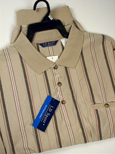 #258890. 3XL TALL. TAUPE Retail $  46.00 Short Sleeve by LD SPORT. KC JACQ VERT STRIPE Whs A:  2