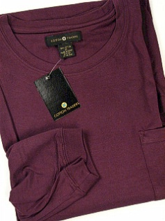 #316158. 2XL TALL. PLUM Retail $  25.00 Long Sleeve Tee by CTTON TRADERS. POCKET TEE LONGSLV Whs A:  4
