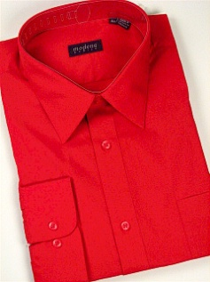 #189505. 20.0 36-37 Tall. RED Retail $  40.00 Dress Long Sleeves by MODENA. POINT BLEND BROADCLTH Whs A:  3 FW:  1