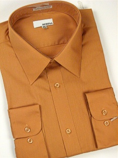 #189433. 19.0 34-35 Big. RUST Retail $  40.00 Dress Long Sleeves by MODENA. POINT BLEND BROADCLTH FW:  1,