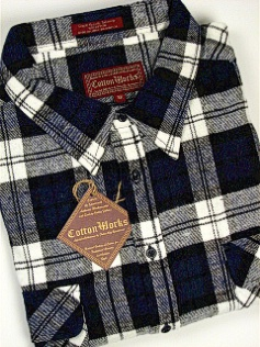 #339836. 6XL BIG. NAVY Retail $  44.00 Long Sleeve Flannel by COTTON WORKS. 2-FLAP BUFFALO B.D. Whs A:  1