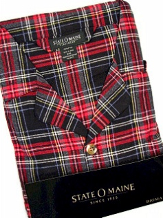 #077084. 3XL TALL. BLACK Retail $  45.00 Pajamas by STATE-O-MAINE. FLANNEL PLAID PAJAMA Whs A:  3
