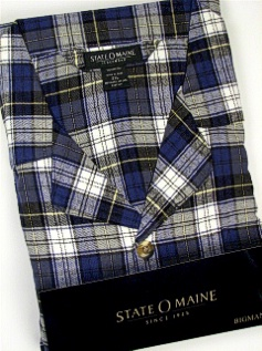 #077055. 3XL TALL. WHITE Retail $  45.00 Pajamas by STATE-O-MAINE. FLANNEL PLAID PAJAMA Whs A:  3