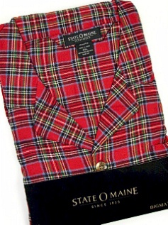 #139665. 5XL BIG. RED Retail $  45.00 Pajamas by STATE-O-MAINE. FLANNEL PLAID PAJAMA Whs:  6,