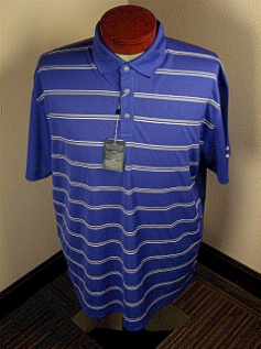 #300322. 4XL BIG. MARINE Retail $  70.00 Short Sleeve Stay Dry by CALLAWAY GOLF. HORIZ STRIPES VENTILA Whs A:  2