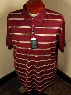 #022886. 2XL BIG. BURGUNDY Retail $  70.00 Short Sleeve Stay Dry by CALLAWAY GOLF. HORIZ STRIPES VENTILA Whs A:  2