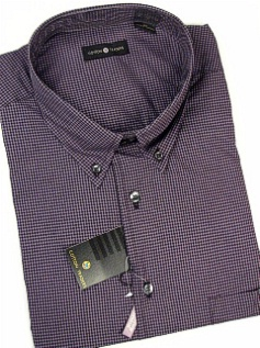 #027117. 5XL BIG. PLUM Retail $  54.00 Long Sleeve Cotton by CTTON TRADERS. MICRO-GINGHAM SOLID Whs A:  2 FW:  1