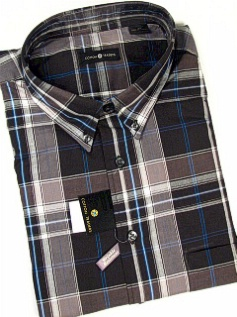 #041223. 4XL BIG. BLACK Retail $  48.00 Long Sleeve Cotton by CTTON TRADERS. WRINKLE RESIST PLAID Whs A:  2