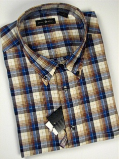#036238. XL TALL. KHAKI Retail $  48.00 Long Sleeve Cotton by CTTON TRADERS. WRINKLE RESIST PLAID Whs:  1,