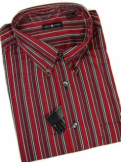 #227089. XL TALL. RUBY Retail $  48.00 Long Sleeve Cotton by CTTON TRADERS. WRINKLE RESIST STRIPE Whs:  1,