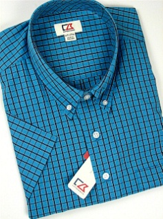 #140520. 2XL TALL. BLUE Retail $ 105.00 Short Sleeve by CUTTER BUCK. ANDERS CHECK Whs A:  2 FW:  1