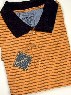 #005315. 3XL BIG. APRICOT Retail $  65.00 Short Sleeve by INDYGO SMITH. SPACE DYE STRIPE POLO Whs:  3,FW:  1,