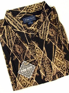 #165684. 2XL BIG. BLACK Retail $  72.00 Short Sleeve Tropical by INDYGO SMITH. GEOMETRIC PRINT Whs A:  1