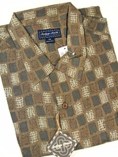 #053569. XL TALL. BROWN Retail $  72.00 Short Sleeve Tropical by INDYGO SMITH. GEOMETRIC PRINT Whs A:  4