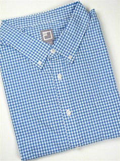 #317425. 4XL BIG. BLUE Retail $  60.00 Long Sleeve Cotton by FAMOUS MAKER. 80S 2-PLY GINGHAM Whs A:  9