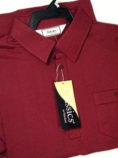 #192822. 3XL TALL. BURGUNDY Retail $  44.00 Short Sleeve by LD SPORT. TAILOR COLLAR SOLID Whs:  1,