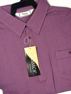 #324810. 3XL TALL. PLUM Retail $  44.00 Short Sleeve by LD SPORT. TAILOR COLLAR SOLID Whs:  1,