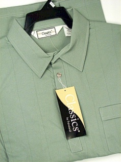 #194497. 6XL BIG. SAGE Retail $  48.00 Short Sleeve by LD SPORT. TAILOR COLLAR SOLID Whs:  1,