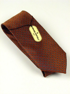 #110622.  . RUST Retail $  45.00 Extra Long Ties by BRUNO PIATTELLI. XLONG JACQ SQUARES FW:  2