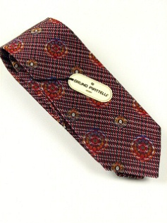 #345538.  . RED Retail $  45.00 Extra Long Ties by BRUNO PIATTELLI. XLONG JACQ FLORETS FW:  2