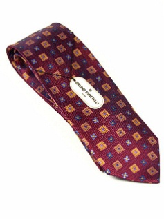 #145477.  . WINE Retail $  45.00 Extra Long Ties by BRUNO PIATTELLI. XLONG JACQ BLOCK FLOR FW:  1,