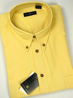 #117216. 4XL TALL. YELLOW Retail $  46.00 Short Sleeve by CTTON TRADERS. SOLID OXFORD B.D. FW:  1